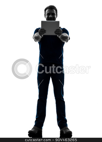 man holding watching  digital tablet  silhouette stock photo, one  man holding watching digital tablet in silhouette on white background by Ishadow