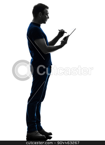 man holding digital tablet  silhouette stock photo, one  man holding digital tablet in silhouette on white background by Ishadow