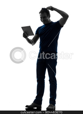 man holding digital tablet  brushing hair silhouette stock photo, one  man holding digital tablet brushing hair in silhouette on white background by Ishadow