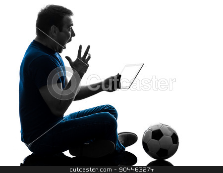 man holding watching digital tablet  silhouette stock photo, one  man holding digital tablet surprised in silhouette on white background by Ishadow
