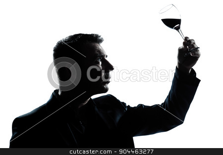 silhouette man tasting  looking at his glass of red wine stock photo, one  man portrait silhouette tasting looking at his glass of red wine in studio isolated white background by Ishadow
