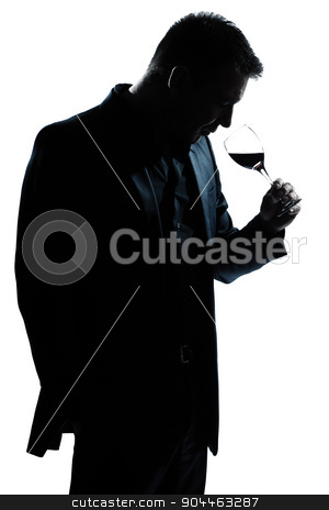 silhouette man portrait smelling red wine glass stock photo, one  man portrait silhouette smelling red wine glass in studio isolated white background by Ishadow