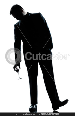 man drunk holding a glass of red  wine silhouette stock photo, one  man full length silhouette drunk holding a glass of red wine in studio isolated white background by Ishadow