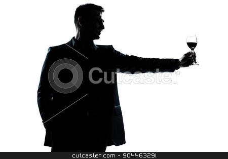 man rising up toasting his glass of red wine silhouette stock photo, one  man portrait silhouette rising up toasting his glass of red wine in studio isolated white background by Ishadow