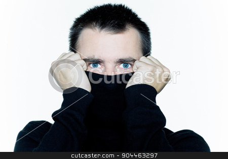 man hiding behind his turtle polo neck afraid stock photo, man portrait expressing portrait on studio isolated white background by Ishadow