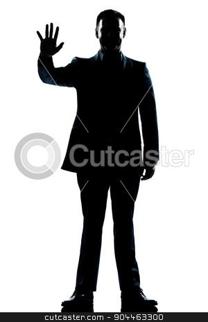 silhouette man full length saluting high five stock photo, one  man saluting high five full length silhouette in studio isolated white background by Ishadow