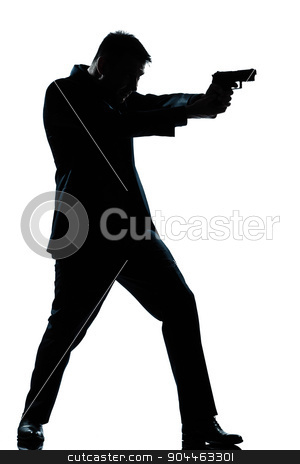 silhouette man full length shooting with gun stock photo, one  spy criminal policeman detective man aiming shooting gun full length silhouette in studio isolated white background by Ishadow