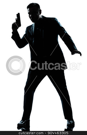 silhouette man spy holding gun stock photo, one  spy criminal policeman detective man holding gun full length silhouette in studio isolated white background by Ishadow