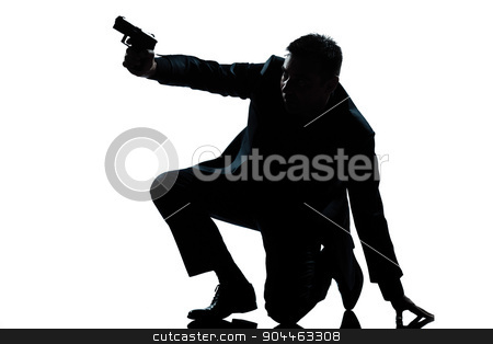 silhouette man kneeling aiming gun stock photo, one  spy criminal policeman detective man aiming shooting gun full length silhouette in studio isolated white background by Ishadow