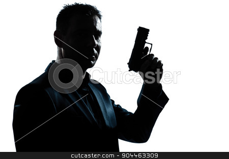 silhouette man portrait with gun stock photo, one  spy criminal policeman detective man holding gun portrait silhouette in studio isolated white background by Ishadow