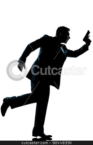 silhouette man full length stock photo, one  man full length silhouette in studio isolated white background by Ishadow