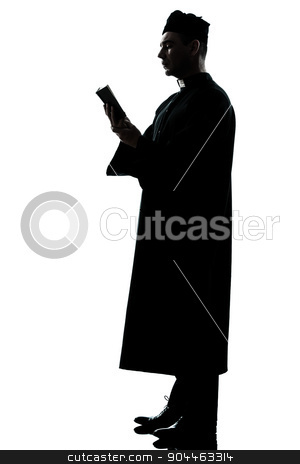 man priest silhouette stock photo, one  man priest reading bible silhouette in studio isolated on white background by Ishadow