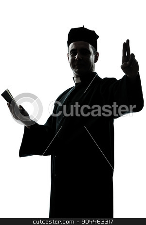 man priest silhouette stock photo, one  man priest silhouette in studio isolated on white background by Ishadow