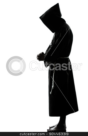 man monk priest silhouette praying stock photo, one  man priest praying silhouette in studio isolated on white background by Ishadow