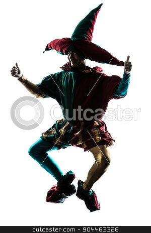 man in jester costume silhouette jumping stock photo, one  man in jester costume jumping silhouette in studio isolated on white background by Ishadow