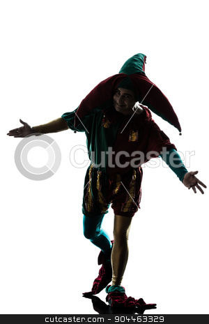 man in jester costume silhouette saluting stock photo, one  man in jester costume saluting silhouette in studio isolated on white background by Ishadow