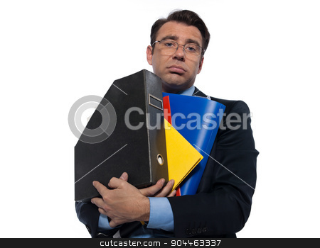 Man Portrait holding files stock photo, man businessman holding folders bored overload isolated studio on white background by Ishadow