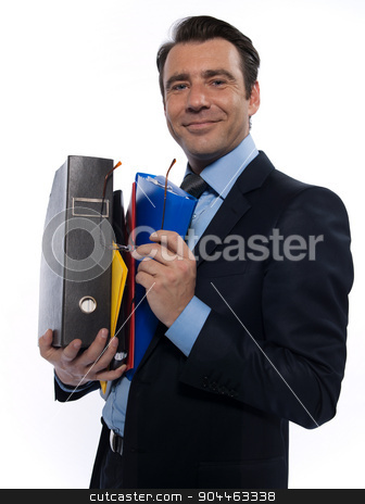 Man Portrait holding files stock photo, man businessman holding files confident arrogant isolated studio on white background by Ishadow