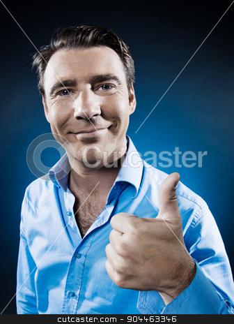 Man Portrait Thumb up stock photo, man thumb up portrait isolated studio on black background by Ishadow