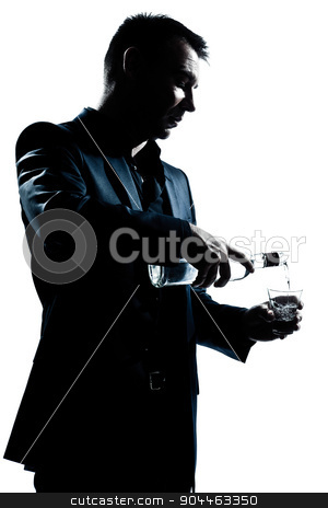 silhouette man portrait pouring white alcohol stock photo, one  man portrait pouring white alcohol silhouette in studio isolated white background by Ishadow