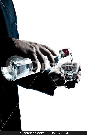 silhouette man hands close up pouring white alcohol stock photo, one  man hands close up pouring white alcohol in a glass silhouette in studio isolated white background by Ishadow