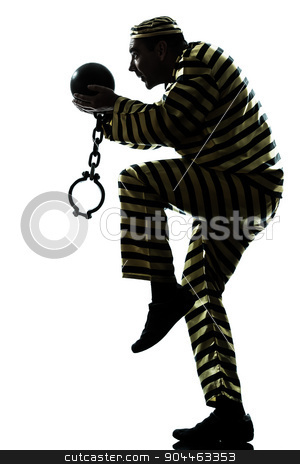 man prisoner criminal with chain ball silhouette stock photo, one  man prisoner criminal escaping with chain ball silhouette in studio isolated on white background by Ishadow