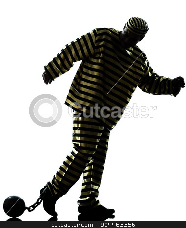 man prisoner criminal with chain ball silhouette stock photo, one  man prisoner criminal with chain ball silhouette in studio isolated on white background by Ishadow