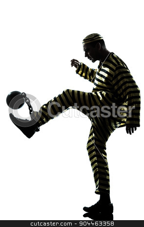 man prisoner criminal playing soccer with chain ball silhouette stock photo, one  man prisoner criminal playing soccer with chain ball in studio isolated on white background by Ishadow