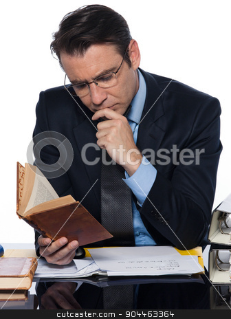 Man businessman teacher   reading stock photo, man  teacher professor reading concentrated isolated studio on white background by Ishadow