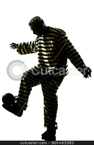 man prisoner criminal playing soccer with chain ball silhouette stock photo, one  man prisoner criminal playing soccer with chain ball silhouette in studio isolated on white background by Ishadow