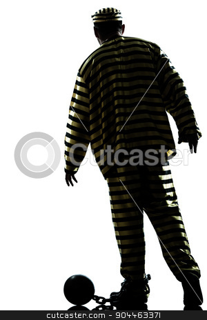 man prisoner criminal with chain ball silhouette stock photo, one  man prisoner criminal with chain ball in studio isolated on white background by Ishadow