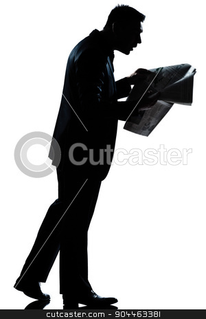 silhouette man walking reading newspaper surprised full length stock photo, one  man walking reading newspaper surprised full length silhouette in studio isolated white background by Ishadow