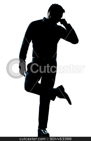 silhouette man full length looking at his shoes with unpleasant  stock photo, one  man looking at his shoes unpleasant smell full length silhouette in studio isolated white background by Ishadow