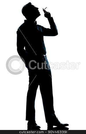 silhouette man smoking cigarette full length stock photo, one  man smoking cigarette full length silhouette in studio isolated white background by Ishadow
