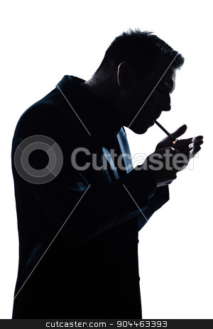 silhouette man portrait lighting smoking cigarette stock photo, one  man portrait smoking lighting cigarette silhouette in studio isolated white background by Ishadow