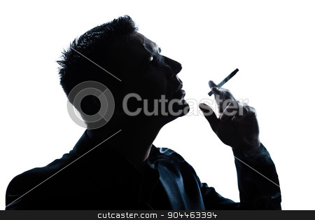 silhouette man portrait smoking cigarette stock photo, one  man portrait smoking cigarette silhouette in studio isolated white background by Ishadow