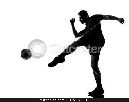 man soccer player silhouette stock photo, one man soccer player in studio silhouette isolated on white background by Ishadow