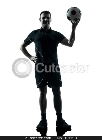 man soccer player silhouette stock photo, one man soccer player holding ball in studio silhouette isolated on white background by Ishadow