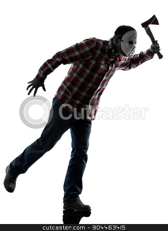 man serial killer with mask silhouette full length stock photo, one  man serial killer with mask full length in silhouette studio isolated on white background by Ishadow