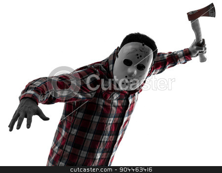 man serial killer with axe silhouette portrait stock photo, one  man serial killer with mask portrait in silhouette studio isolated on white background by Ishadow