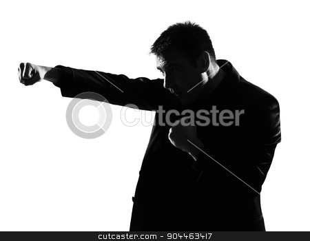silhouette  man  boxing gesture stock photo, silhouette  business man boxing gesture expressing behavior full length on studio isolated white background by Ishadow