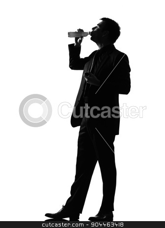 silhouette  man  drinking stock photo, silhouette  business man expressing drinking behavior full length on studio isolated white background by Ishadow