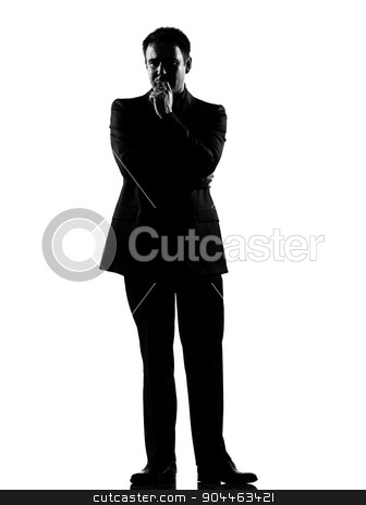 silhouette  man  thinking pensive stock photo, silhouette  business man thinking pensive expressing behavior full length on studio isolated white background by Ishadow