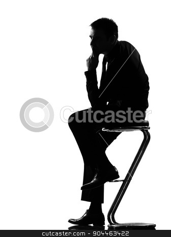 silhouette  man  thinking pensive stock photo, silhouette  business man thinking pensive sititting on foot stool full length on studio isolated white background by Ishadow