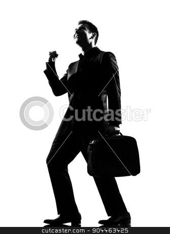 silhouette  man  winner happy joy stock photo, silhouette  business man expressing happy joy winning behavior full length on studio isolated white background by Ishadow