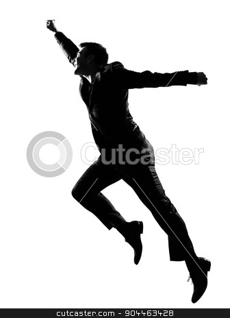 silhouette  man  winner stock photo, silhouette  business man expressing winning behavior full length on studio isolated white background by Ishadow