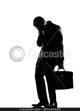 silhouette  man  fatigue despair tired stock photo, silhouette  business man expressing fatigue despair tired behavior full length on studio isolated white background by Ishadow
