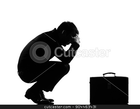 silhouette  man  fatigue despair tired stock photo, silhouette  business man expressing fatigue despair tired behavior briefcase full length on studio isolated white background by Ishadow