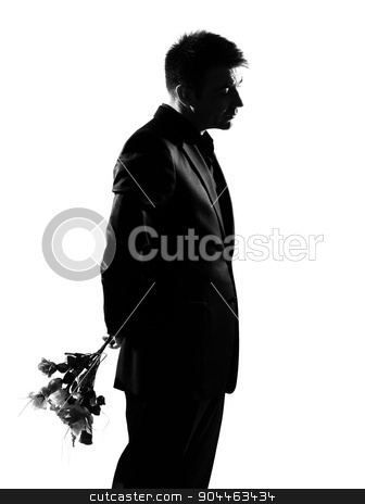 silhouette  man offering flowers stock photo, silhouette  business man offering flowers expressing behavior full length on studio isolated white background by Ishadow