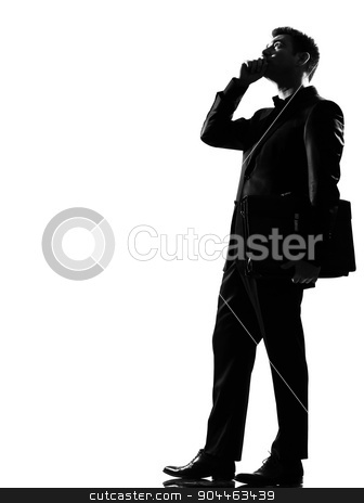 silhouette  man on the phone stock photo, silhouette  business man on the phone expressing behavior full length on studio isolated white background by Ishadow